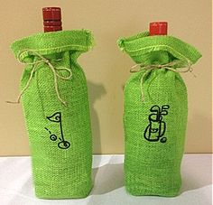 Burlap Golf Bottle Bags This burlap wine bag is hand sewn and tied with jute cord. It holds a standard size bottle of wine or olive oil. Perfect for gift giving!