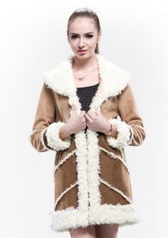 Scottish/two-color suede with faux wool collar cuff and lap/long coat