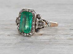 Two carat emerald antique Georgian engagement ring circa 1810