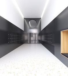 Magizan Architectes, Lausanne, Suisse Space Interiors, Office Interiors, Design Entrée, House Design, Apartment Mailboxes, Nogent Sur Marne, Mail Room, Hotel Corridor, Hotel Lobby Design
