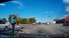Dashcam mounted on Dallas driver's dashboard captured the moment a man stopped in the middle of a crosswalk to practice his martial arts moves.