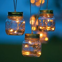 Mason jar lights are popping up everywhere, and these 7-1/2' string lights are right on trend. These outdoor lights provide vintage-inspired style as well as warm-white outdoor lighting. Seven mason jars share 28 warm white micro LEDs have a convenient battery-timer lets you turn them on for 6 hrs. on/18 hrs. off. You get 10,000 hours of indoor or outdoor use.