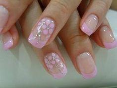 Gelnagels roze bloemen