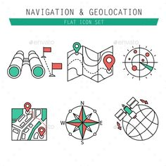 Different Navigation Icons Set With Rounded Corner (JPG Image, Vector EPS, CS, cartography, compass, destination, direction, earth, element, flag, globe, gps, graphic, guide, icon, internet, location, map, marker, navigation, pictogram, pin, pointer, position, road, route, search, set, sign, symbol, travel, vector, web)