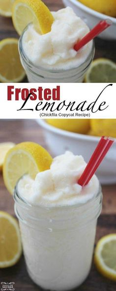 Check out this Frosted Lemonade Recipe for an Easy Copycat Chickfila Recipe. Thi… Check out this Frosted Lemonade Recipe for an Easy Copycat Chickfila Recipe. This Frosted Lemonade is the perfect summertime frozen drink recipes for parties. Köstliche Desserts, Frozen Desserts, Delicious Desserts, Dessert Recipes, Yummy Food, Tasty, Frozen Treats, Dessert Food, Party Recipes