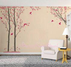 Wandtattoo+Lebendiger+Baum+und+Vögeln+von+DreamKidsDecal+auf+DaWanda.com