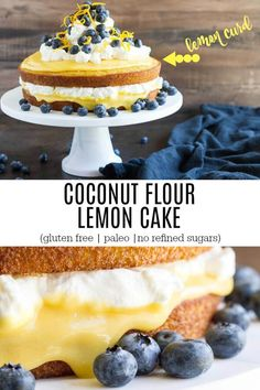 Coconut flour lemon cake It's light, springy, perfectly sweet, hinted with lemon flavor, and smothered in curd and cream. Absolutely DELICIOUS! Gluten free. Paleo. No refined sugars.