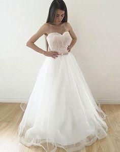 Strapless sweetheart white lace A-line long bridal chiffon dress, prom dress