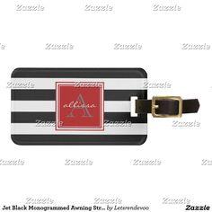 Jet Black Monogrammed Awning Stripe