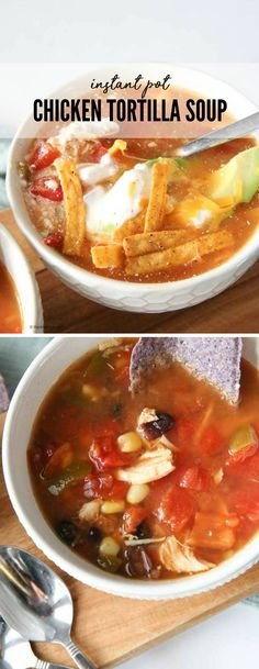 Flavorful and delicious, this Instant Pot Chicken Tortilla Soup is an easy and classic soup the whole family will love. Fast and easy this instant pot soup recipe can be on the table in less than 30 minutes! Easy Soup Recipes, Chicken Recipes, Dinner Recipes, Cooking Recipes, Chili, Pizza, Chicken Tortilla Soup, Pressure Cooker Recipes, Slow Cooker