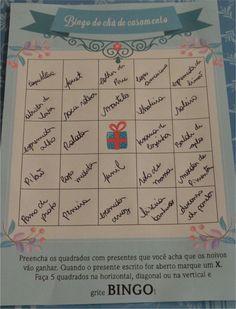 Bingo para chás de casamento (Download gratuito)