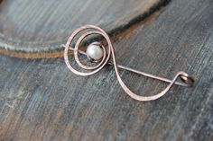 "Shawl pin, scarf pin, sweater pin, cardigan clasp, textured oxidized copper shawl pin ""Radiant pearl"", spiral shawl pin, brooch"