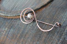 "Shawl pin, scarf pin, sweater pin, cardigan clasp, textured oxidized copper shawl pin ""Radiant pearl"", spiral shawl pin, brooch"