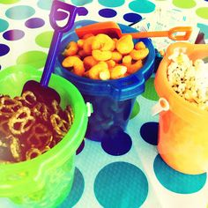 Larcie Bird: Summer Water Party. Serve treats in a sand bucket with shovel for a summer party!