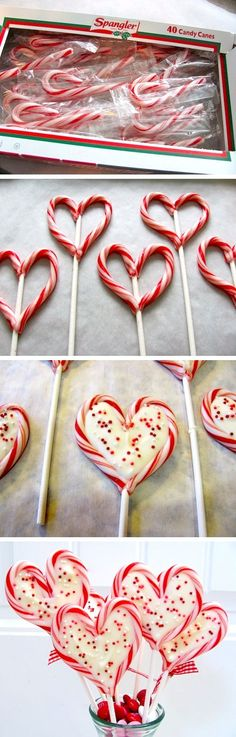 Sweetheart Pops made out of mini candy canes and candy coating!