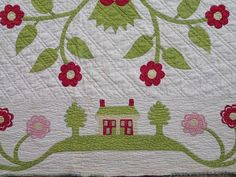 Rare c1850 Whig Rose HOUSE Tree Leaves Floral Urn Border Antique QUILT 98x87