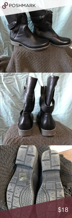 Black zippered boots Black pleather boots with rubber sole. Really unique zippered strap. In great condition worn once. Electric karma Shoes Ankle Boots & Booties