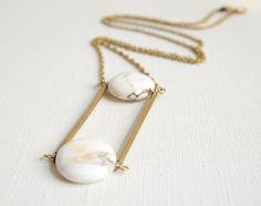 Pendelketten - Nayana / Howlite / Marble / Brass / Geometric - ein Designerstück von ALittleDot bei DaWanda