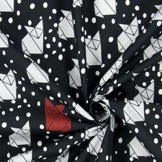 Popeline Punkte – Origami Fuchs - Baumwolle - schwarz