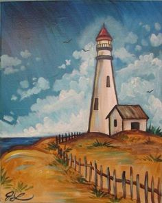 Acrylic Canvas - Afternoon at the Lighthouse - Source: Painting with a Twist
