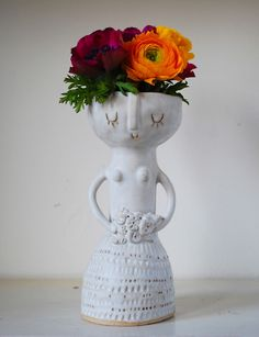 Atelier Stella Lady vase - She has a Frida Kahlo thing going on.