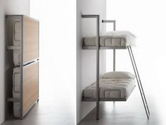 Bunk Beds concealed in the wall. LA LITERAL wall beds by Lievore, Altherr, and Molina. These are great beds for a small space. The steel beds attach to the wall and fold up when not needed and can be used as a shelf. Come in either double or single version. Double: 79.5″ x 13″/15″ x 70″/78″h Single: 79.5″ x 13″/15″ x 37.4″/41.3″h
