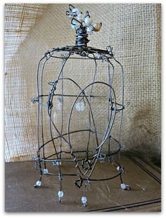 A bird cage/cloche I made with a heart door.