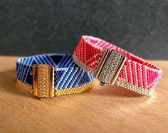 Klassische Kollektion - Miyuki Perlen Peyote Armband - geometrische Muster - Blau & Rosa