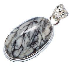 "Pinolith Jasper 925 Sterling Silver Pendant 1 1/4"" PD556295"
