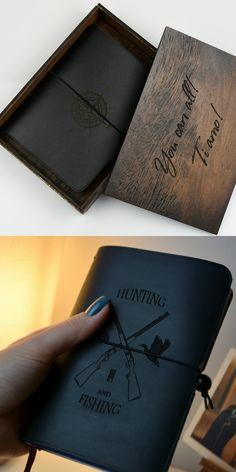 Handmade Notebook, Personalized Notebook, Leather Notebook, Leather Journal, Leather Diary, Hunting Gifts, Fishing Gifts, Creative Activities, Journal Notebook