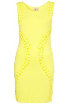 Zesty Yellow Gem Beaded Bodycon Dress | Dress Up Topshop