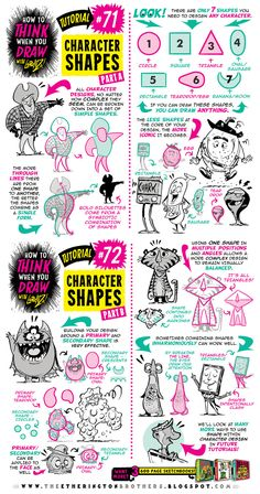 Today's tutorial is the beginning of a whole series (which I'll be dipping into randomly) looking at different ways to THINK when you draw using CHARACT. How to draw CHARACTER SHAPES tutorial Drawing Lessons, Drawing Techniques, Drawing Tips, Drawing Reference, Drawing Ideas, 3d Drawings, Doodle Drawings, Cartoon Drawings, Digital Painting Tutorials