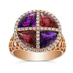 Fashioned in 14K rose gold, this colorful ring features a mosaic of rhodolite garnet weighing 2.55cttw and amethyst weighing 1.73cttw framed by prong set round diamonds weighing 0.40cttw.  Found at Borsheims.com♥≻★≺♥