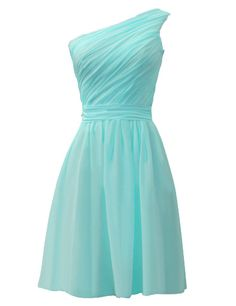 ASBridal One Shoulder Knee-Length Pleated Cheap Short Bridesmaid Dress Sky Blue US 14