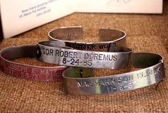 POW/MIA bracelet- One of mine was the same as the one on the bottom of this stack. Major Harrison Klinck. I wrote to his wife and sent the bracelet to her.