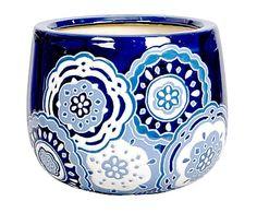 Portavaso in ceramica blu e bianco Doilan, 30x23 cm