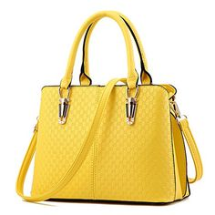 New Trending Shoulder Bags: MUYAOO Women Embossing Satchel Handbags Purse Tote Bag Shoulder Bag Yellow. MUYAOO Women Embossing Satchel Handbags Purse Tote Bag Shoulder Bag Yellow   Special Offer: $25.98      422 Reviews Outer Material: PU Leather Inner Material: Polyester Closure: Zipper Size: Approx 12.2*8.6*5.9 inches (L*H*W) Height of Handle: 5.5 inch Occasion: Versatile Inner Pockets: 3...