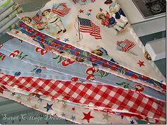 Sweet Cottage Dreams: Dreaming Of Farmhouse Living Patriotic Bunting, Patriotic Crafts, Bunting Banner, July Crafts, Buntings, Bunting Ideas, Americana Crafts, Pennant Banners, Fourth Of July Decor