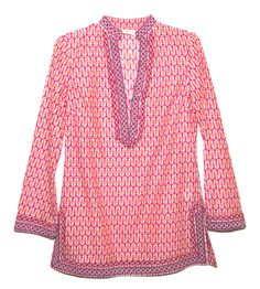 Geometric lines and global-inspired glamour on the T-Print tunic   Tory Burch + Saks Fifth Avenue Tunic Collection