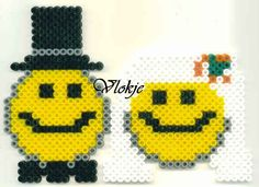 Smiley wedding couple hama beads by Vlokje