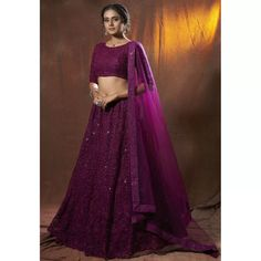 Purple soft net sequence thread work ceremonial lehenga ... Party Wear Indian Dresses, Party Wear Lehenga, Net Lehenga, Bridal Lehenga Choli, Indowestern Lehenga, Mirror Work Kurti, Blouse Desings, Lace Saree, Designer Bridal Lehenga