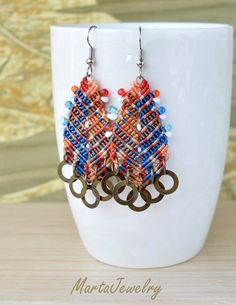 Bohemian colorful feathers macrame earrings micro by MartaJewelry