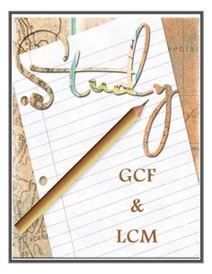 Greatest Common Factor and Least Common Multiple Study Guide