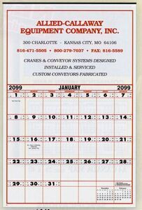 """Large Contractor's Commercial Wall CalendarItem #FXPND-CCDVY 2016 or 2017 Calendar. This large contractor calendar had large blocks for writing.  19"""" W x 28"""" H"""