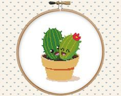 Fabric: 14-count Floss: DMC Dimensions: 56 stitches wide x 75 stitches tall Design area: 4 x 5.4 inches (10.2 x 13.6 cm) - cross stitch, backstitch More cactuses & succulents: http://etsy.me/1Y9YNCJ  Included in this easy to read PDF pattern: - printable version of final stitched product - black and white symbol chart - colour symbol chart - color floss legend with DMC This PDF counted cross stitch pattern available for instant download. No fabric, floss, or materials are i...