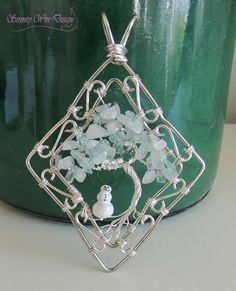 Winter Snowman Rainbow Moonstone Aquamarine Tree of Life Pendant Ornament Sun…