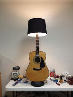 Guitar table lamp musical upcycle crafts decor pinterest my custom acoustic guitar lamp tyler rays guitar lamps aloadofball Images