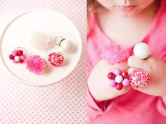 This Candy Ring Tutorial is the perfect DIY for jewelry lovers with a sweet tooth. Stock up on some red, pink and white candy of your choice (if you haven't already) — we recommend the rock candy for this particular DIY.