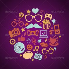 Trendy Hipster Icons  - Decorative Vectors
