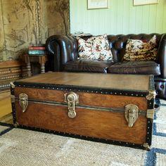 trunk coffee table vintage steamer trunk storage trunk industrial